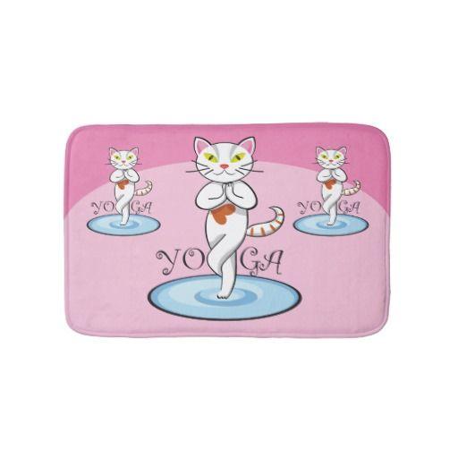 Lindo gato yoga. Regalos, gifts. #alfombra #bath #mat