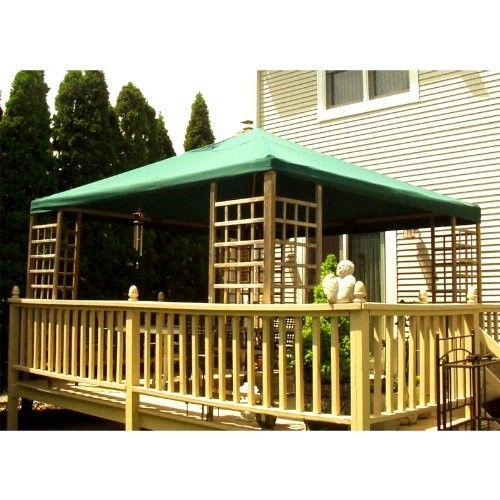 12 x 12 Wood Gazebo Replacement Canopy, Green