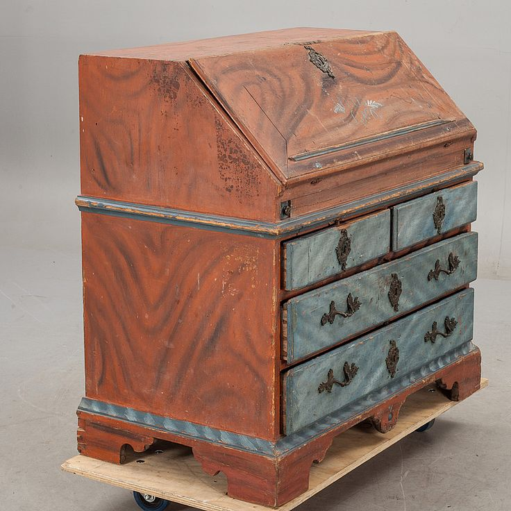 WRITING DESK, Swedish, folk art, 19th century -- SNEDKLAFFSEKRETÄR, allmoge. 1800-tal.