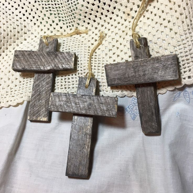 3 Vintage Rustic Farm Produce Crate Wood Cross Ornaments wall hanging package decoration set on night stand or hang from a dresser knob for decoration communion baptism cross gift