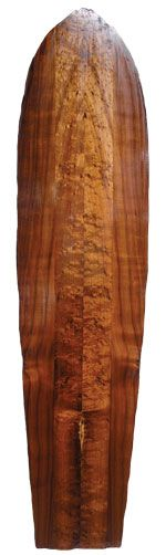 Big Island board builder Gary Young's Alaia Lite, made with the recycled foam core from old surfboards, and covered with a wood composite veneer featuring koa, kaimani and albizia. Whereas a vintage alaia could tip the scale at 100 pounds, a six-foot-six Alaia Lite weighs a mere six pounds.