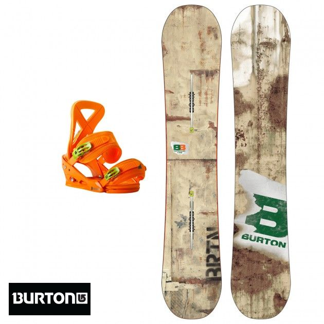 Men's Burton Blunt Snowboard + Burton Custom Snowboard Bindings, Orange Medium - 154cm