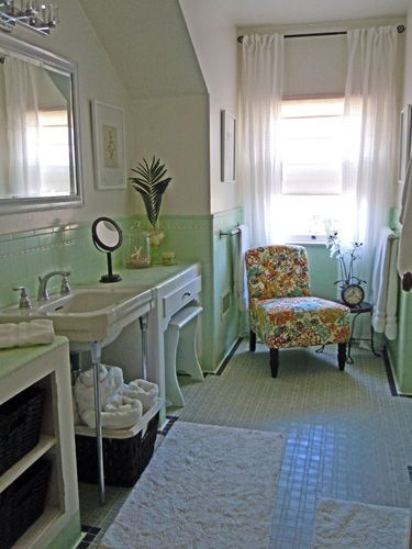 Vintage green cottage bath- remake in a day