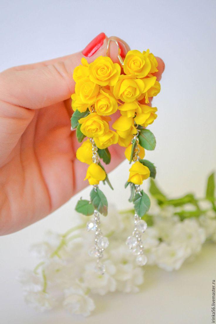 """Купить Серьги """" Желтые розы"""" - желтый, желтый цвет, серьги висюльки, серьги висячие"""