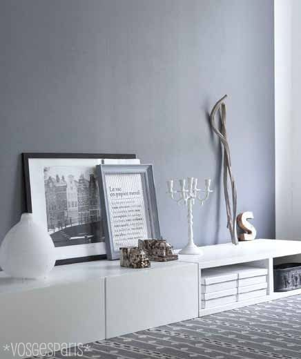 love the grey wall and the low furniture