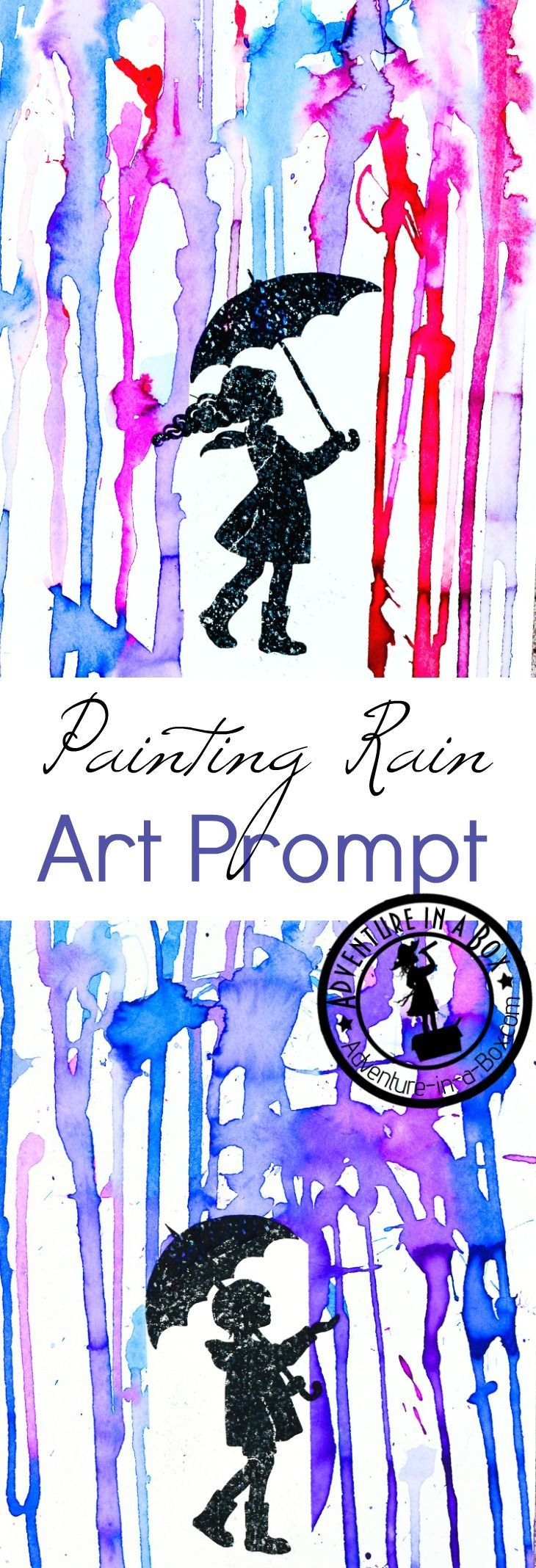 painting rain with printable art prompt - Fun Kids Pictures