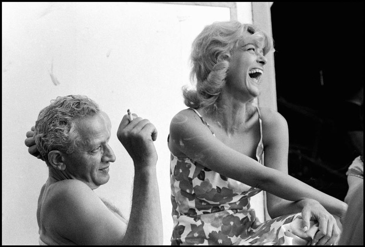 """Constantine Manos  GREECE. Hydra Island. Greek actress Melina MERCOURI with her husband & director, Jules DASSIN between takes during the filming of """"Phaedra"""". 1961."""
