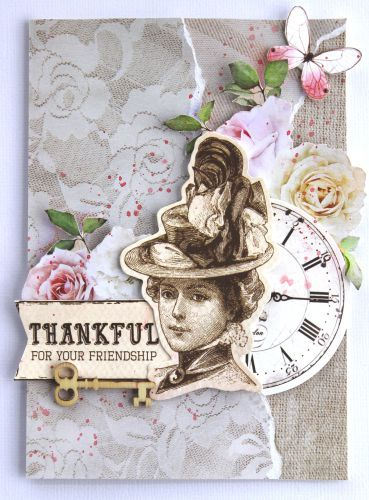'Thankful for you Friendship' card  by Cathy Cafun Design Team for Kaisercraft using 'Mademoiselle' collection ~ Cards 1.