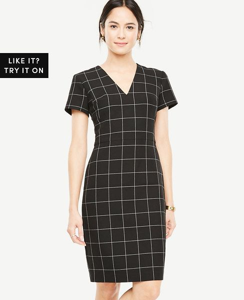 Shop Ann Taylor for effortless style and everyday elegance. Our Windowpane V-Neck Sheath Dress is the perfect piece to add to your closet.