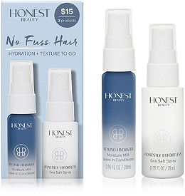 No Fuss Hair by Honest Beauty gives you hydration + texture to go - Meh to both sea salt spray and leave in conditioner. Sea salt spray didn't have enough hold or texture. Conditioner was horribly scented, like an old lady, and didn't seem to do much.