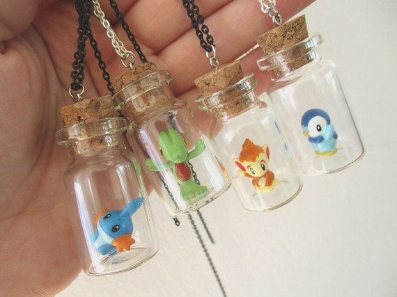 Pokémon Necklaces - CUTE Starter Pokemon -Mudkip, Piplup, Treecko, Chimchar - Gamer Gear - Unisex