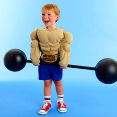 Show off your kid's strength this Halloween with a muscle man costume that's easily made from fiberfill, ribbon and foam.