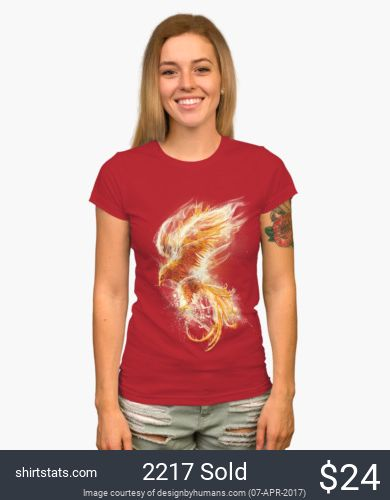 The Fenix is a bird that teaches us that we can always have a new beginning. Rising up from the ashes this Phoenix themed tee is beautifully detailed. Illustrated in bright oranges and yellows its easy to see why this is a popular design.