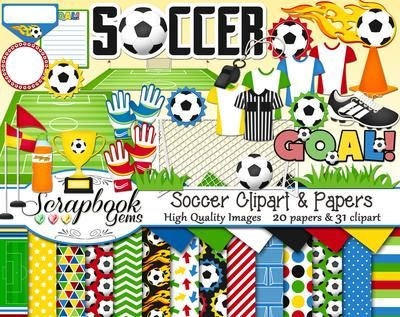Soccer Clipart, 31 high quality digital images and 20 papers. Instant download, trophy, soccer clipart, goal, uniforms, soccer field, digital scrapbooking, sports clipart, scrapbook kit, digital clipart, high school clipart.