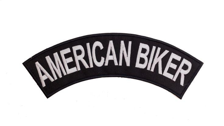 AMERICAN BIKER White on Black Top Rocker Iron on Patch for Biker Vest TR342