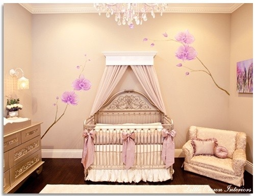 Baby girls bedroom/nursery. A bit frilly, but I love the blossoms.