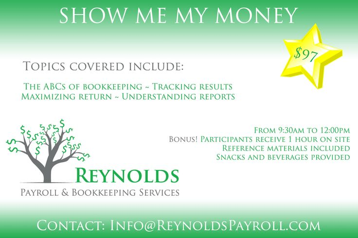 One month away! Join us March 10th at 9:30am.  Not ready to hire a bookkeeper yet? Learn what you need to put in, and what you can get out of your numbers in business.  Receive 1 free hour on site when you participate in our bookkeeping workshop. Contact us today at info@reynoldspayroll.com.