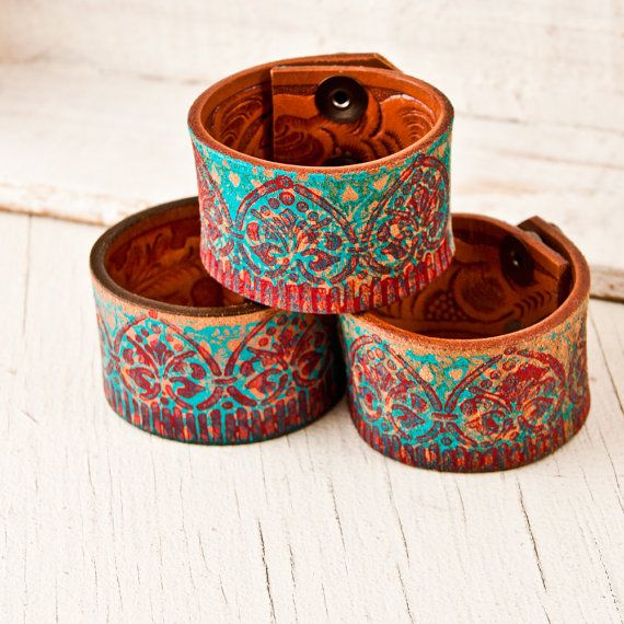 Turquoise Southwest Jewelry / Leather Cuffs  by rainwheel on Etsy, $38.00