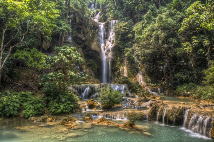 Waterfalls in Laos. There were over 10 different ones, and you could swim in the pools of most of them
