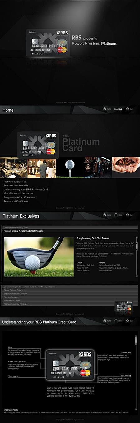 RBS Platinum Card - Interactive Presentation by Naumeena Suhail, via Behance