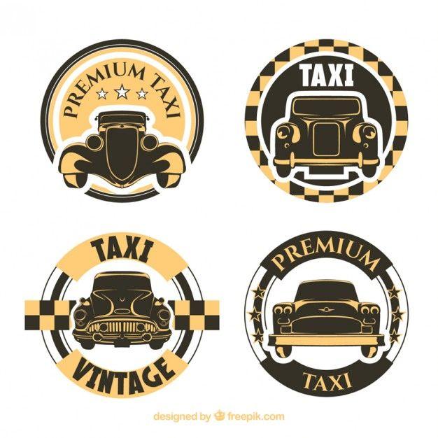 Пакет округлых старых такси этикетки Бесплатные векторы