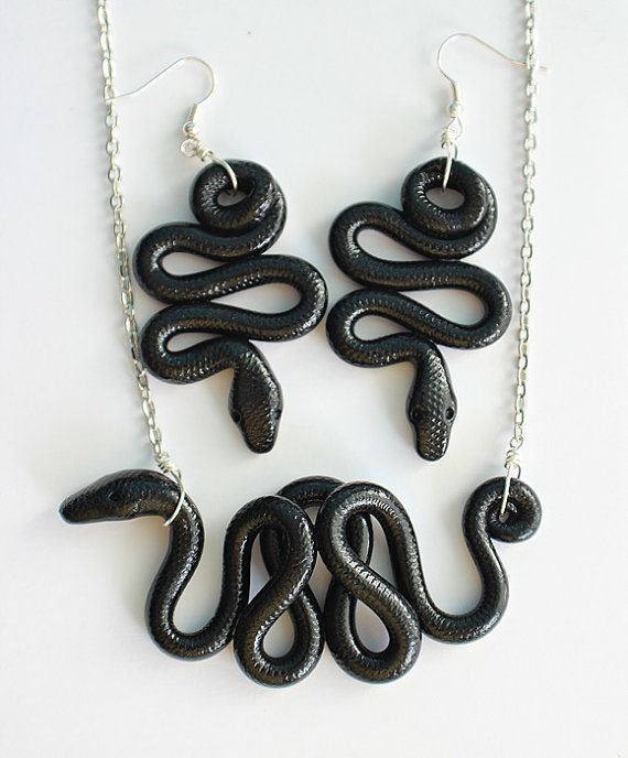Snake Earrings Lightweight Earrings Polymer Clay Earrings