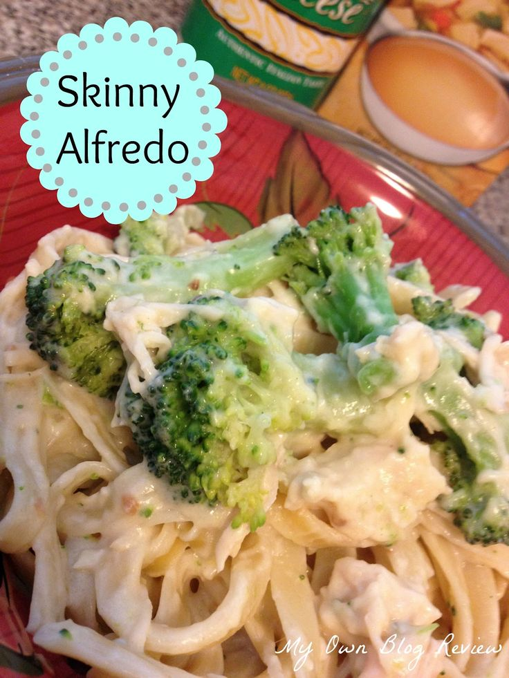 Skinny Alfredo with Chicken and Broccoli...broccoli you'll actually ...