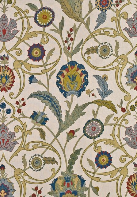 Lewis & Wood IPEK DAMASK Inspired by the work of Pugin, here is a vibrant, colourful pattern with a wonderful free-flowing movement from the decorative painter Adam Calkin. @JLambethCo & www.jlambeth.com