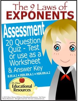 math worksheet : laws of exponents quiz  test  assessment  worksheet  20  : Multiplication Assessment Worksheet