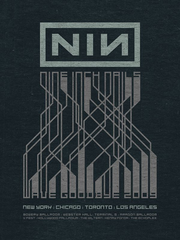 Nine Inch Nails concert posters, 2005-2009 by Rob Sheridan, via Behance