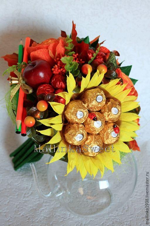 """Купить Букет из конфет """"Первое сентября"""" в золотом - оранжевый, букет, букет из конфет"""