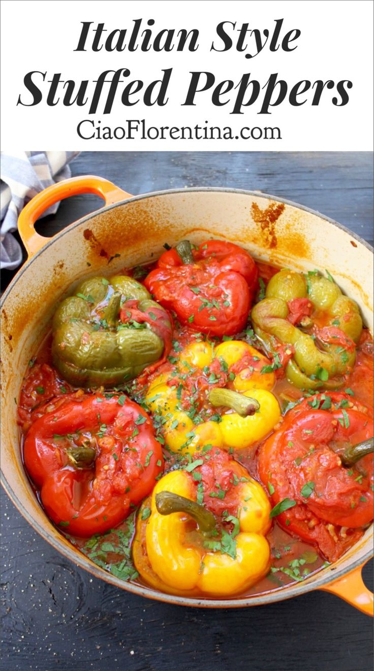 The Best Italian Style Stuffed Peppers made with Risotto Rice and Chicken, in a San Marzano Tomato Broth | CiaoFlorentina.com @CiaoFlorentina