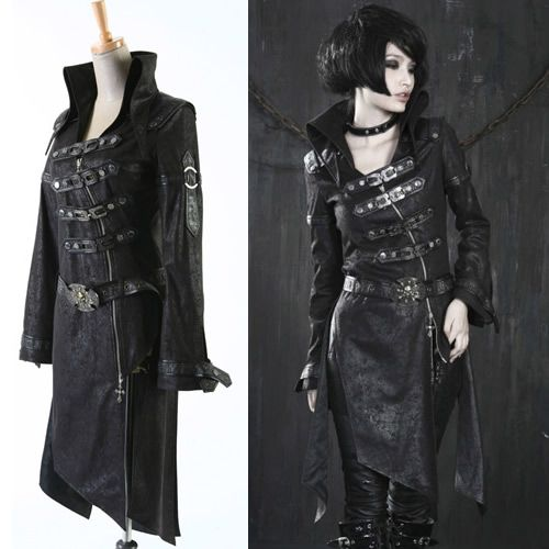 Black Suede Gothic Vampire Trench Coats Scene Clothes for Men Women SKU-2345028