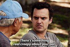 """New Girl, Season 2 Episode 7 """"Menzies"""" Nick Miller Chinese Man """"There's something real creepy about you, pal."""""""