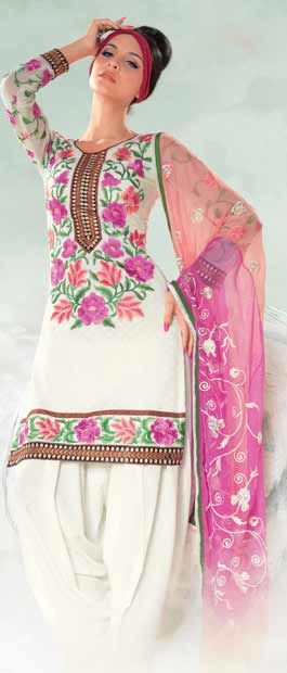 Off White Cotton Jacquard Salwar Kameez With Dupatta    Itemcode: KSX451     Price: US$ 63.36    Click here: http://www.utsavfashion.com/store/sarees-large.aspx?icode=ksx451