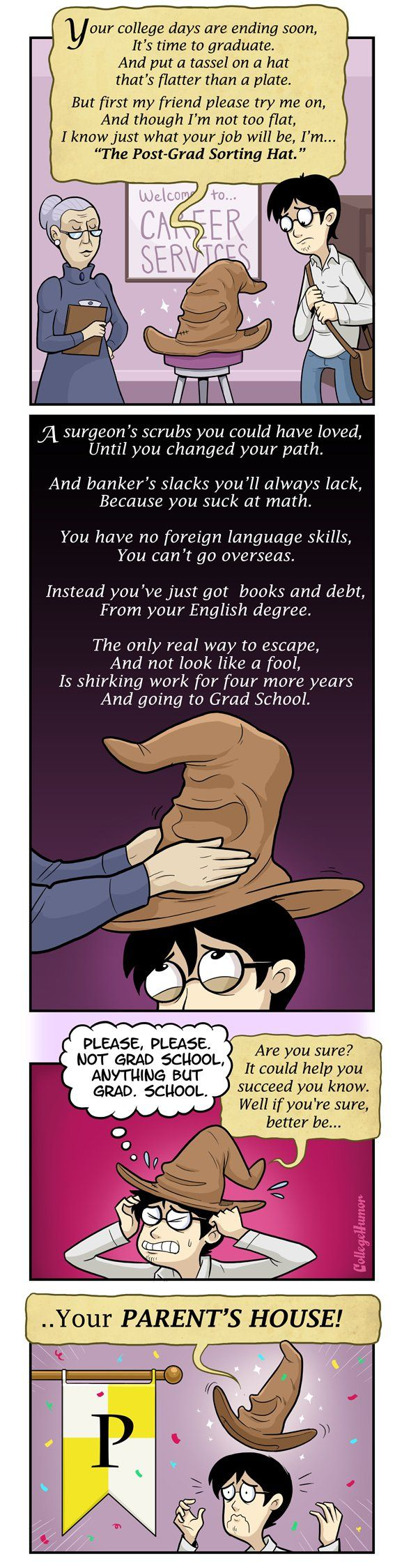 """""""The Post-Grad Sorting Hat"""" by Caldwell Tanner and Susanna Wolff - CollegeHumor Article"""