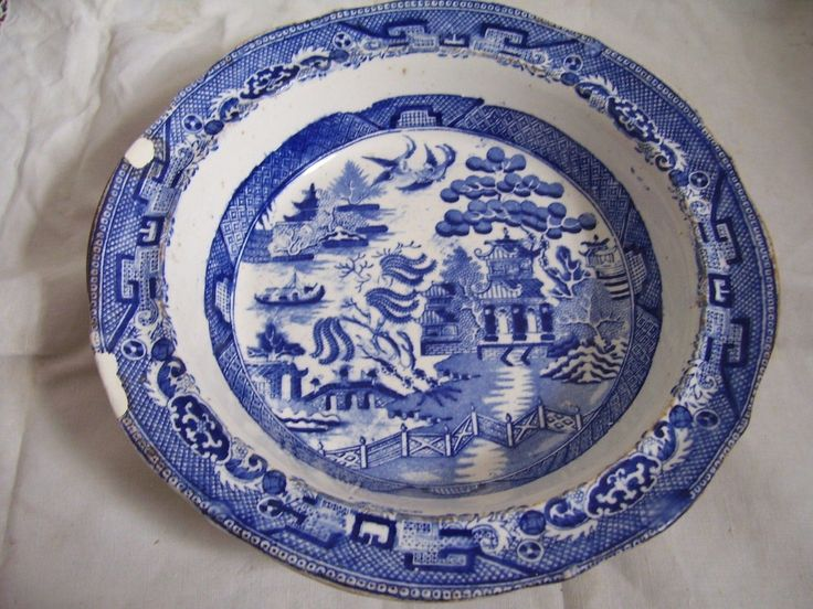 ALCOCKS EARLY WILLOW PATTERN BOWL IMPRESSED MARKS Alcock's Indian Ironstone