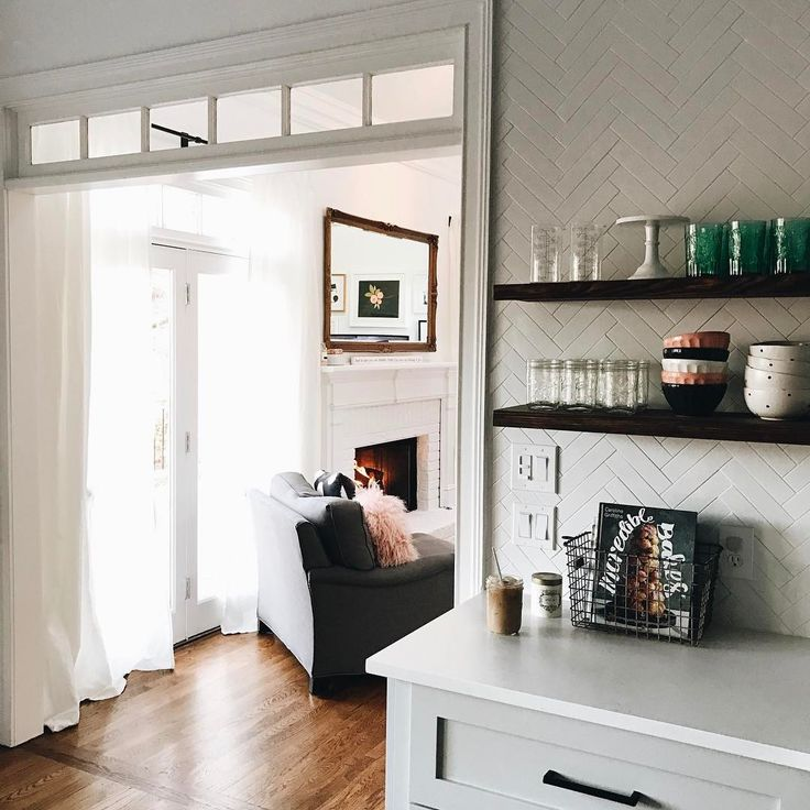 Love these open kitchen shelves from Jessica Garvin - she used our shelf brackets! - find them here www.shelfology.com
