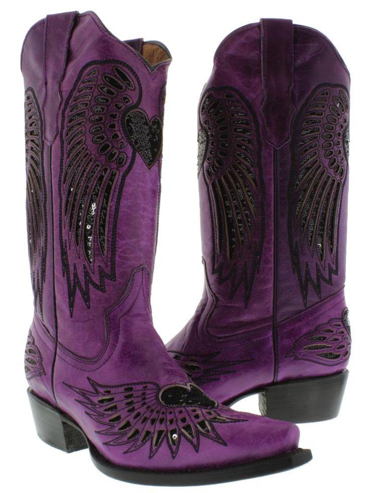 Purple Cowboy Boots | Women's Ladies Purple Leather Cowboy Boots Sequins Western Riding ...