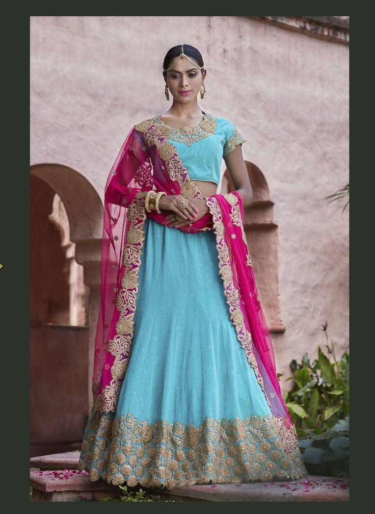 Sky Blue Lycra Wedding Lehenga Choli 70539