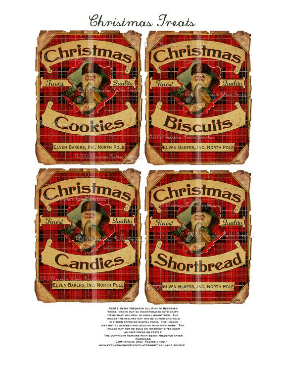 Christmas Candy Cookie Label Vintage Aged Tag Digital Download Printable Image Collage Scrapbook Sheet