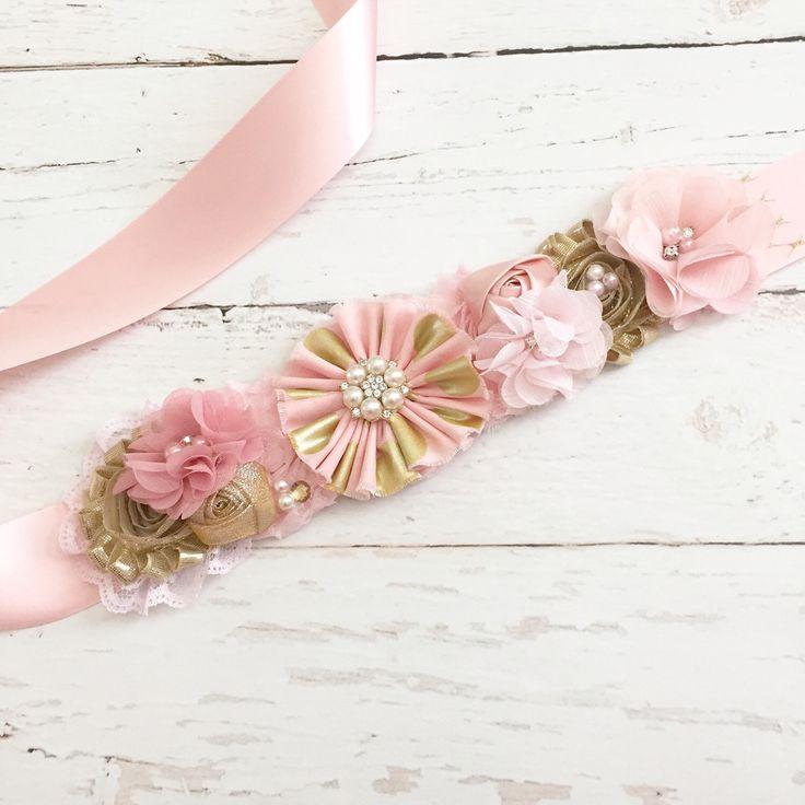 pink gold blush sash-maternity belly sash-bridal wedding sash-bucket wrap photography prop by Goldfeatherboutique on Etsy https://www.etsy.com/listing/241711792/pink-gold-blush-sash-maternity-belly