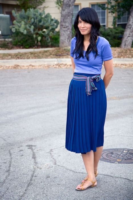 Casual Style, Clothing, Blue Skirts, Beautiful, Pleated Midi Skirts, Blue Hoo, Blue Pleated, Fashion Blue, Pleated Skirts