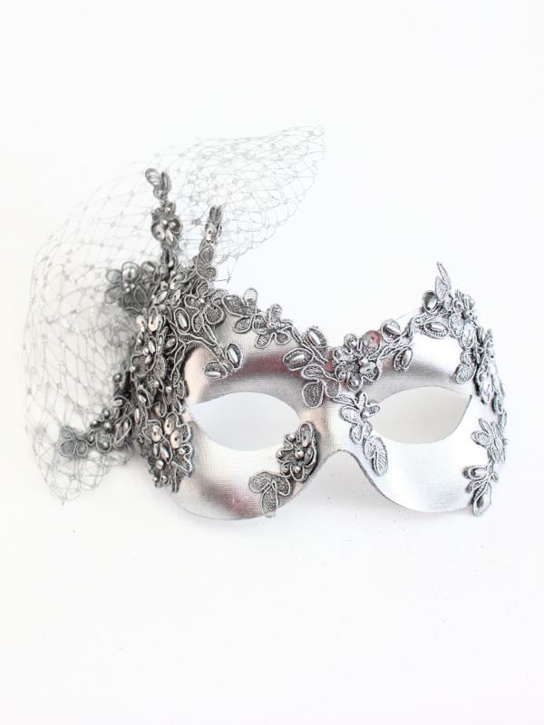 Luxury Unique Silver Beaded Lace Masquerade Mask - Masque Boutique