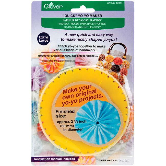 Materials: Plastic Color: Yellow Size: Extra large Package contains one (1) yo-yo template, instructions Perfect tool for embellishing paper craft projects, home decor and ready-to-wear garments Finis