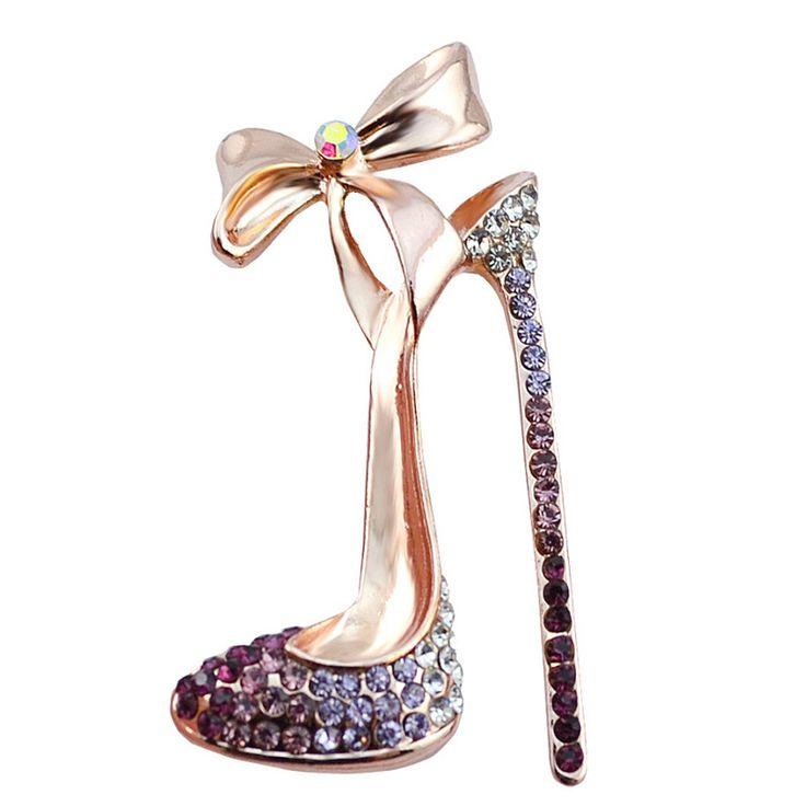 ロマンチックな紫色のクリスタルハイヒールの靴のブローチ結婚式やパーティージュエリーアクセサリー女性の弓の結び目ブローチピン