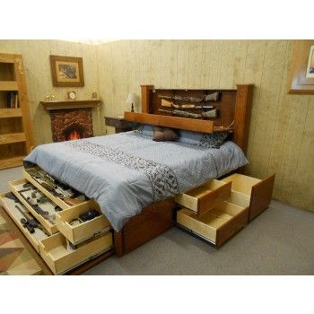 hidden gun storage king size bed - King Size Storage Bed Frame