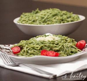 Spaghetti and Spinach Avocado Pesto, gluten free pasta recipe