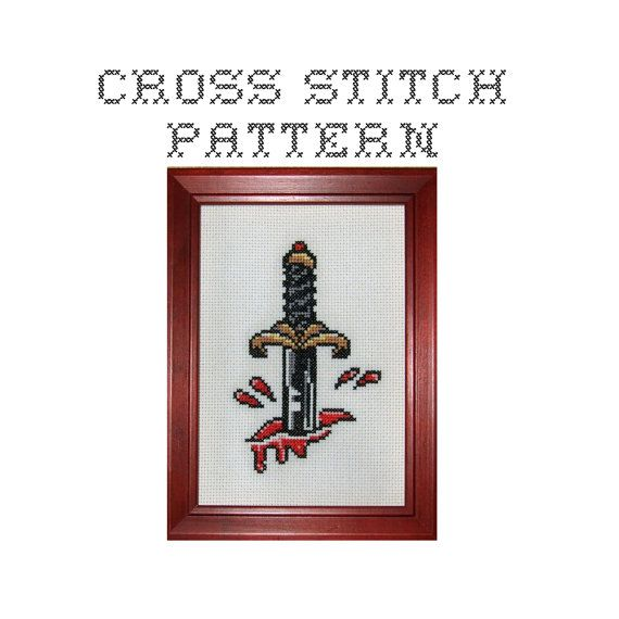 DIY Dagger Tattoo Flash .pdf Original Cross by bombastitch, $4.00