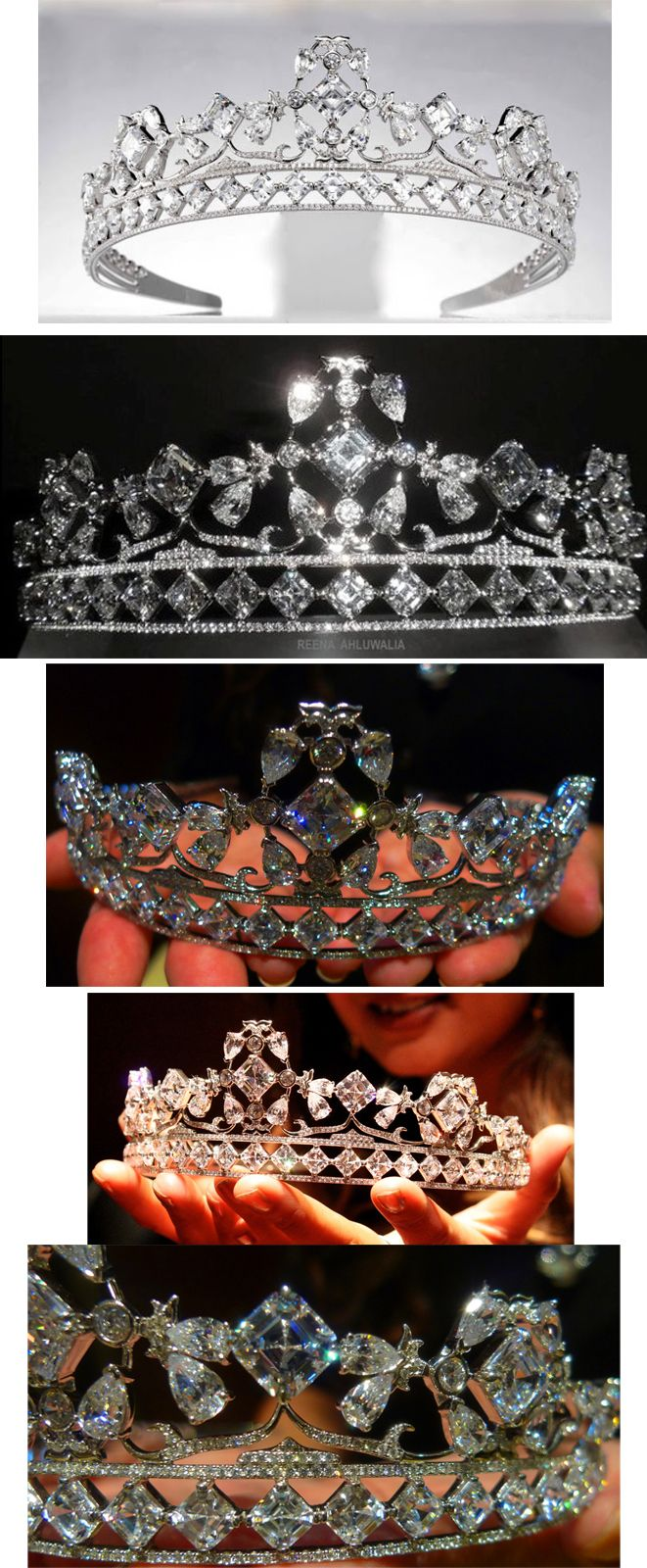 La tiara Royal Asscher diseñada por Reena Ahluwalia para Royal Asscher para la boda de Guillermo del Reino Unido y Kate Middleton. Con diamantes por un total de 85 k., el del centro es de 10 k. Esta tiara fue una de las que Kate Middleton, ahora duquesa de Cambridge, pensó utilizar en su boda con el príncipe Guillermo.